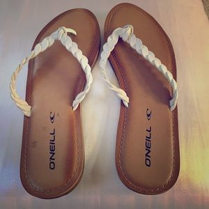 White leather braided O'Neill flip flops